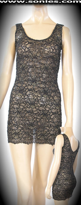Aladdin glitter Lurex with bell lace minidress and thong panty