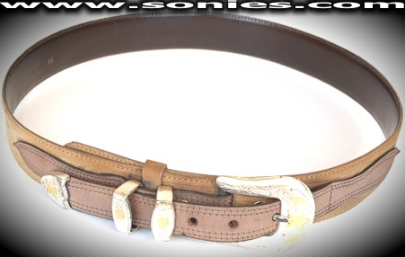 Calchas Texas style dual tanned leather belt with metal buckle