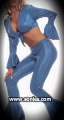 Vivo Para Bailar Lycra bell sleeve crop top and bell bottom pant