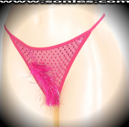Kailash sequin with Lurex G-String panty and soft marabou front