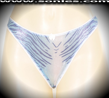Baltistan tiger print Lycra thong panty with silver glitter foil