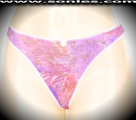 Kunyang watercolor Lycra thong panty with gold glitter foil