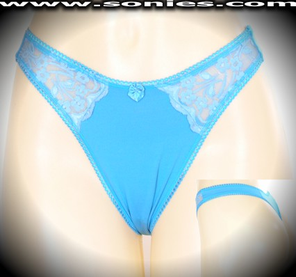 Beaujeu Lycra thong panty with sheer floral lace front sides